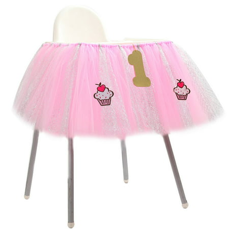 1st Birthday Baby pink Tutu Skirt for High Chair Decoration for Party Supplies - Baby 1st Birthday