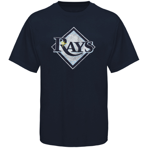 Tampa Bay Rays Youth Distressed Logo T-Shirt - Navy Blue