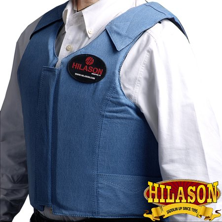 - Large Hilason Bareback Pro Rodeo Horse Riding Protective Vest Denim Blue
