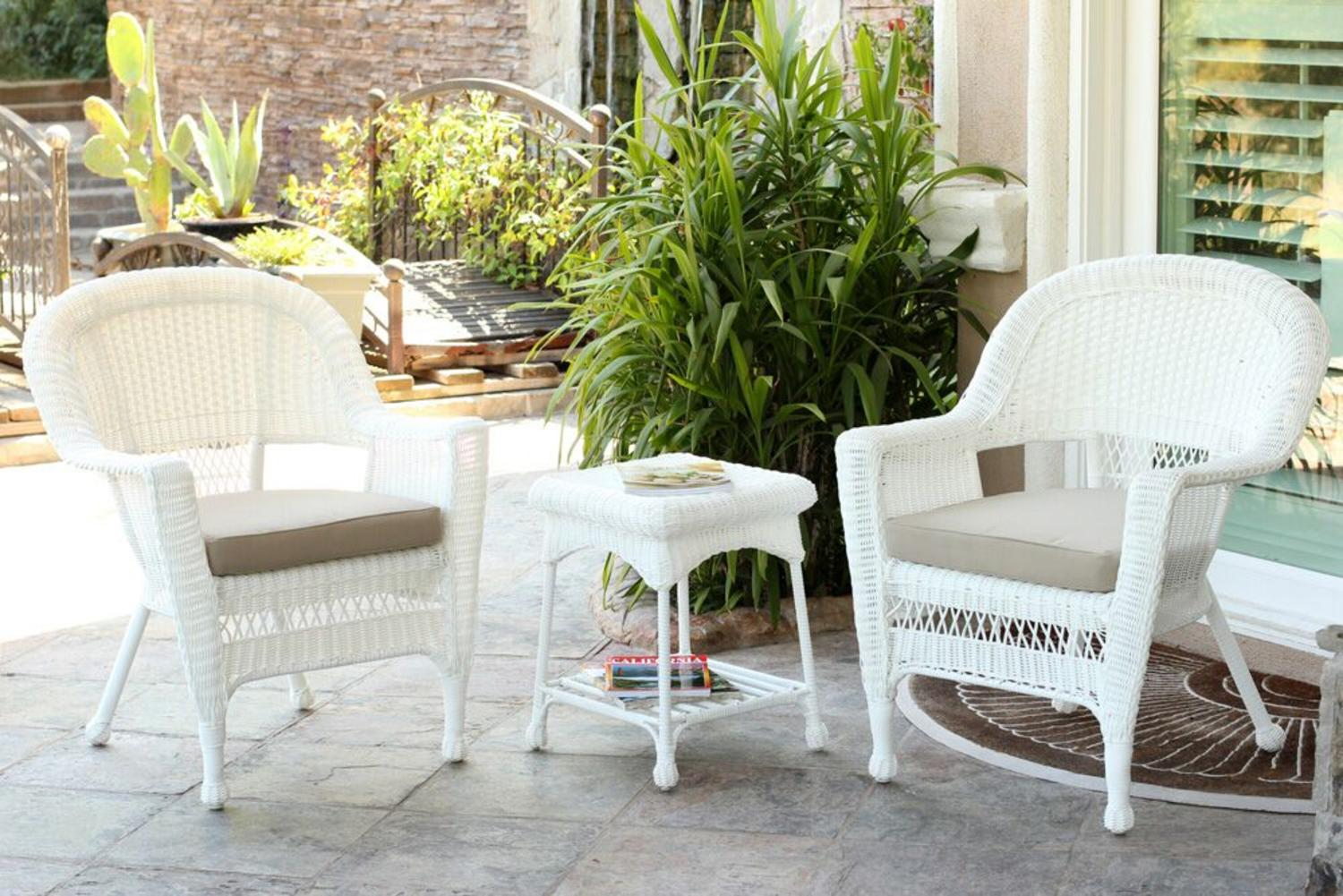 3 Piece White Resin Wicker Patio Chairs And End Table Furniture Set   Tan  Cushions