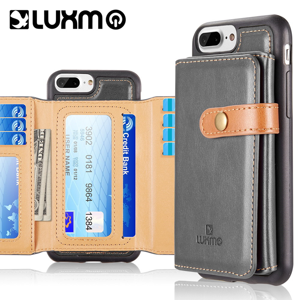 Luxmo Case for iPhone 6/7/8 Plus The Heritage Leather Cases With Attached Tri-Fold Wallet - Grey