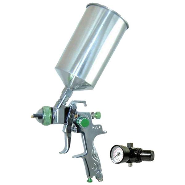 New 2.5mm HVLP Gravity Feed SPRAY GUN w/ REGULATOR Auto Paint Primer Metal Flake