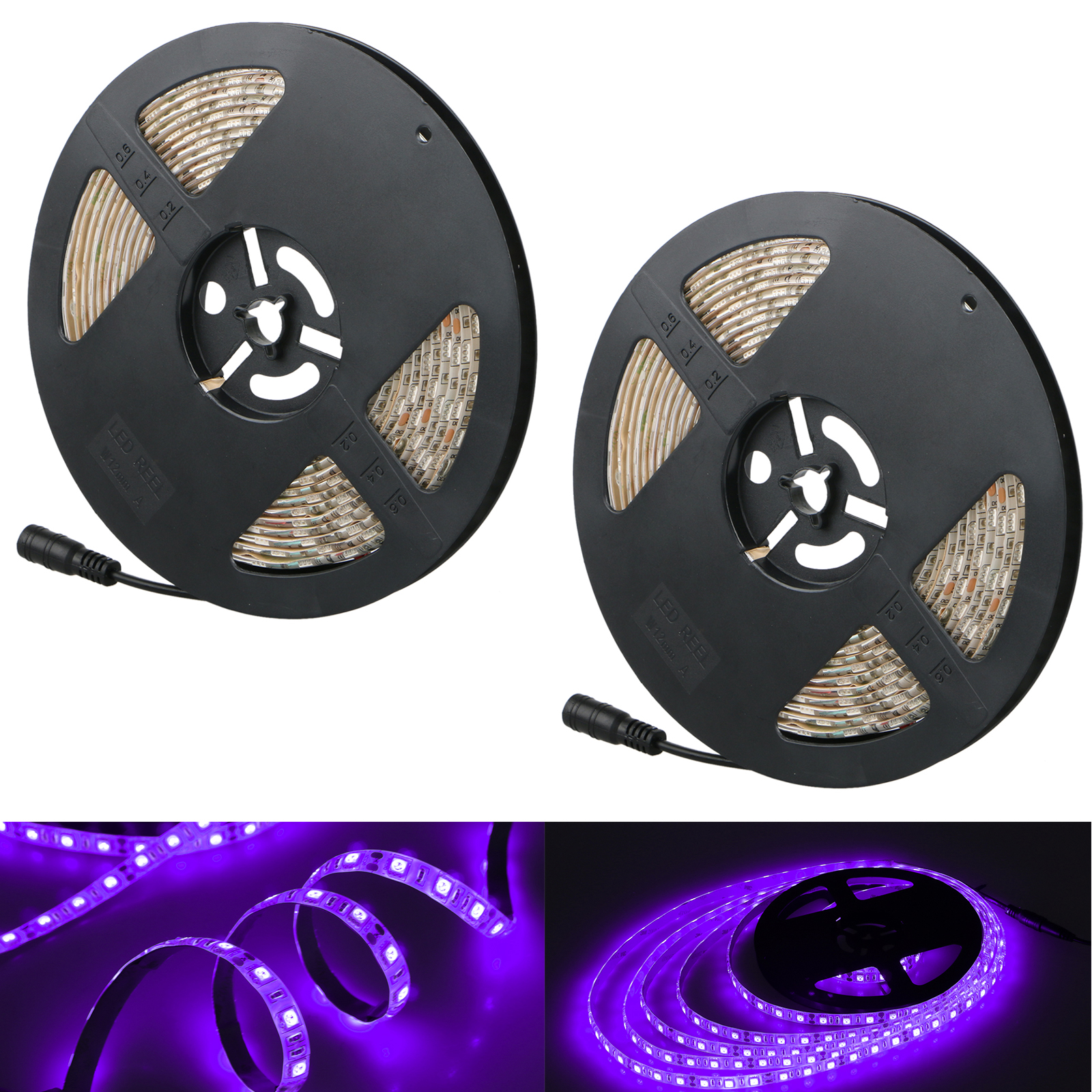 2-pack UV Black Light LED Strip, 16.4FT/5M 5050 300LEDs 395nm-405nm Waterproof BlackLight Night Fishing Sterilization implicitly Party, with 12V 2A 24W Power Supply