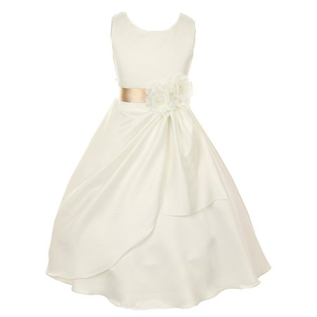 Little Girls Ivory Champagne Bridal Dull Satin Sequin Flowers Occasion Dress 2