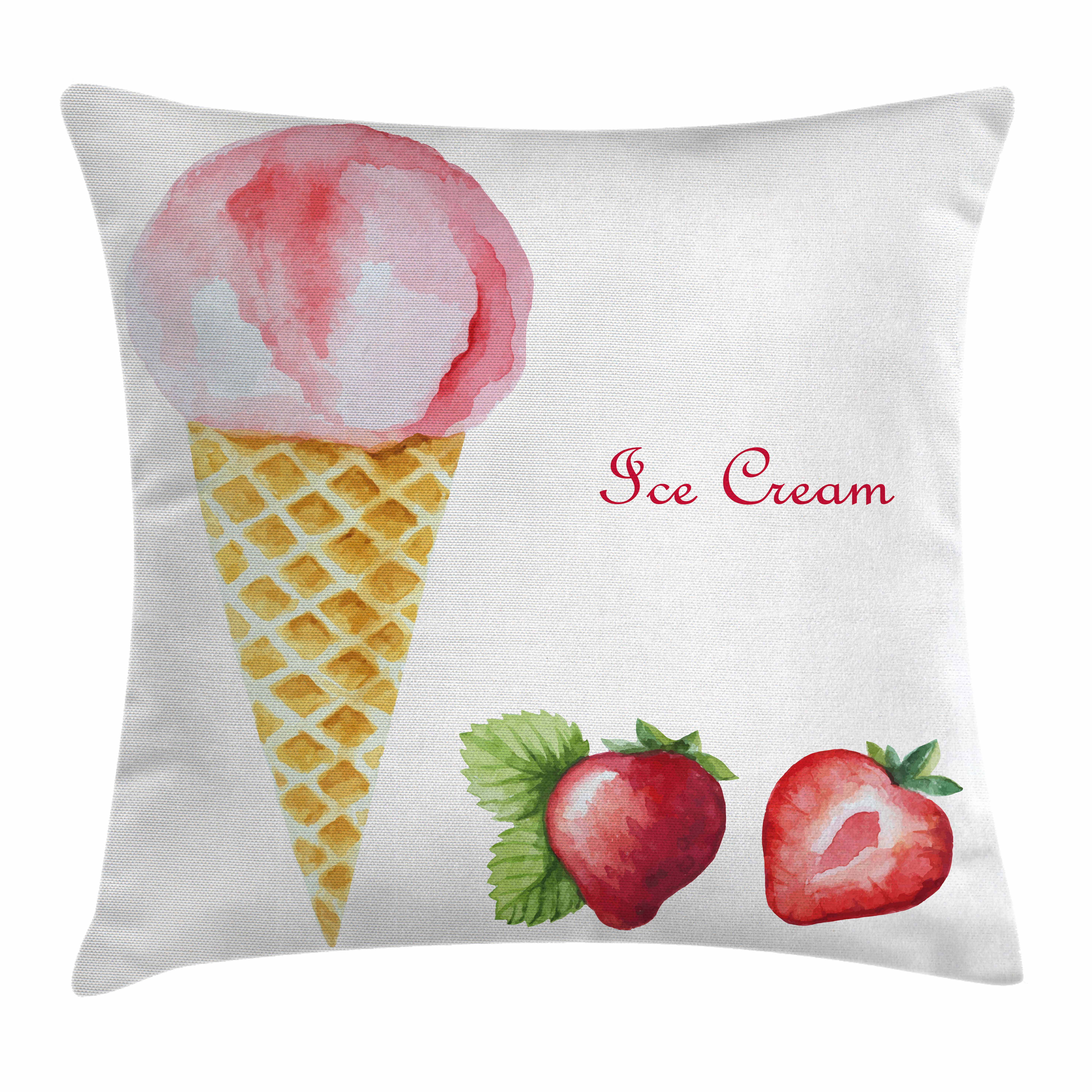 Ice Cream Decor Throw Pillow Cushion Cover, Watercolor Strawberry Flavor Summer Kids Girls Yummy Artwork, Decorative Square Accent Pillow Case, 16 X 16 Inches, Sand Brown Light Pink, by Ambesonne