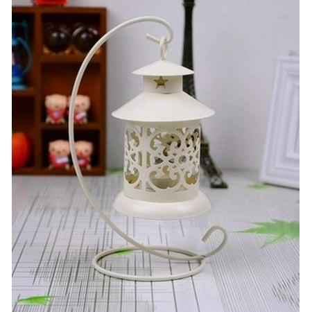 Hanging Votive Lanterns - Handmade Round Metal Moroccan Votive Candle Holder Hanging Lantern, White Color