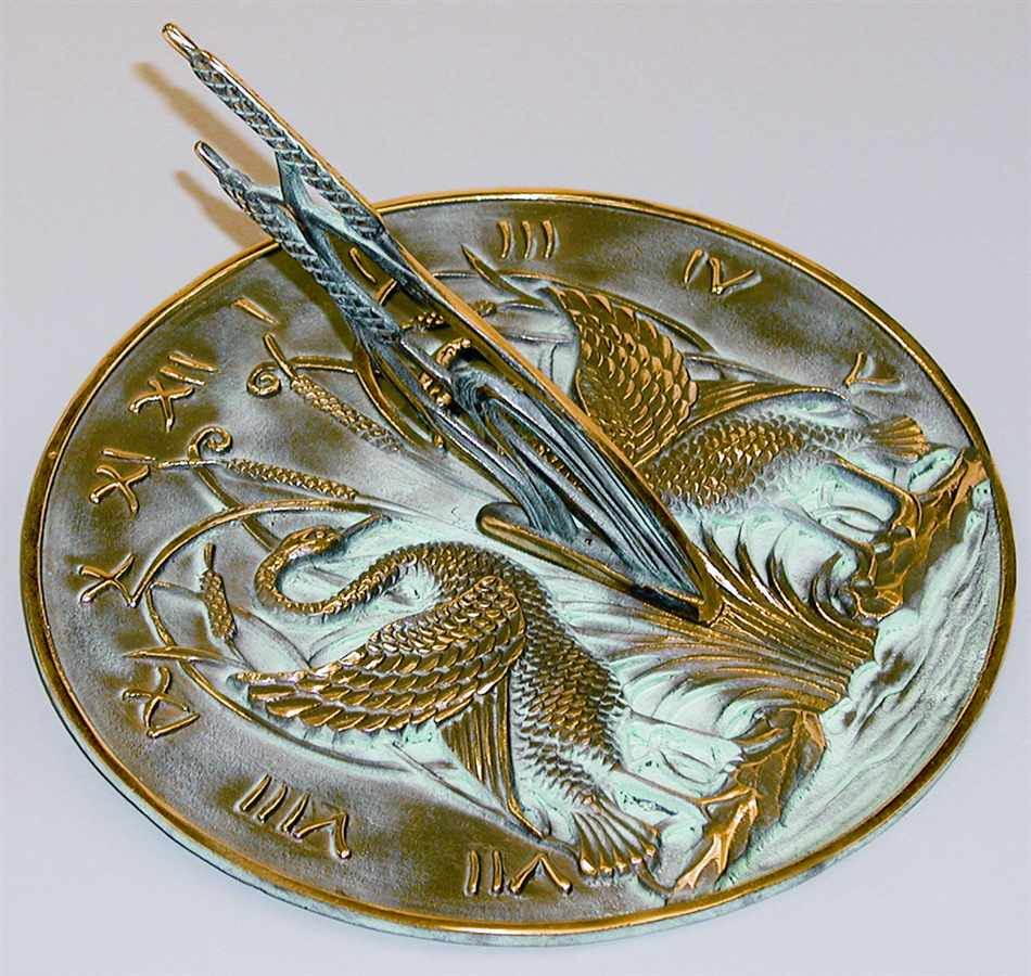 Swan Sundial w Polished Brass by Rome Industries, Inc.