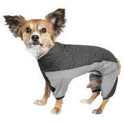 Pet Life  Active 'Chase Pacer' Heathered Performance 4-Way Stretch Two-Toned Full Body Warm Up
