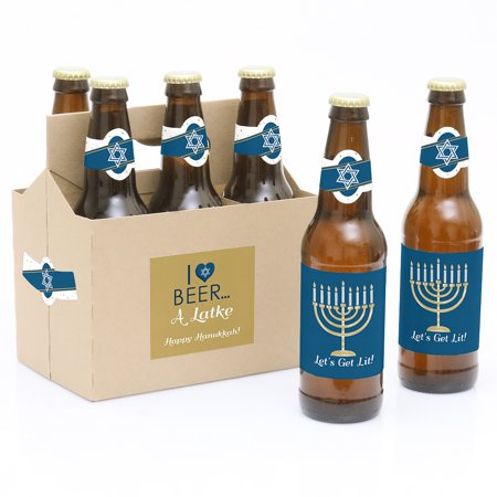 Happy Hanukkah - Chanukah Party Decorations for Women and Men - 6 Beer Bottle Label Stickers and 1 Carrier Our Happy Hanukkah - Chanukah Beer Bottle Labels and Carrier are the perfect for Hanukkah Parties. This 6-pack set comes with a craft paper carrier and with beer bottle labels that are printed on sticker paper that is waterproof. Apply labels to room temperature bottles. Apply beer bottle labels either after removing original label for best results or put over existing labels if you choose. Chill after you are done applying labels. For the two larger labels that are left over apply to the front and back of paper carrier. Use the two smaller ones to put on each end of the paper carrier to give you the completed look. (Beer in image is obviously NOT included).The main sticker label is 3.5  x 3  and the collar/neck sticker label is 3.5  long x 1.5  wide at the center.Apply labels to room temperature bottles. For best results apply the labels to the bottle after removing the original label. They will also work by placing the labels over the existing label. Chill after you are done applying labels. (Soda/Beer in image is NOT included).