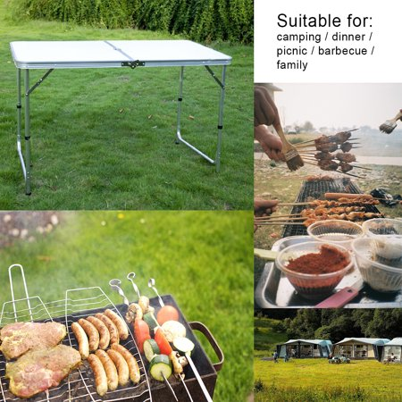 Foldable Aluminum Alloy Table with/wothout 6 Foldable Chairs Stools for Home House Outdoors Picnic(70''x24'') - image 9 de 13