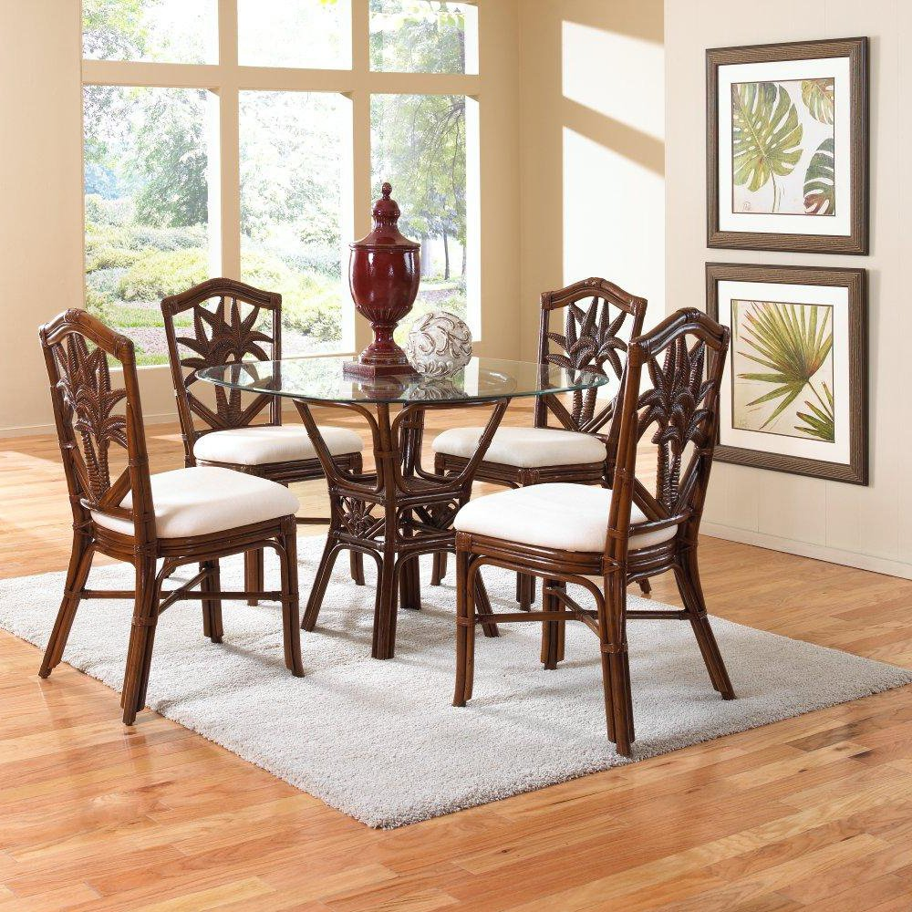 Hospitality Rattan Cancun Palm Indoor 5 Piece Rattan & Wicker 42 in. Round Dining Set - TC Antique - Seats 4