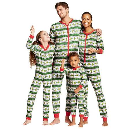 ReliMart Matching Family Pajamas Sets Striped Printing Sleepwear