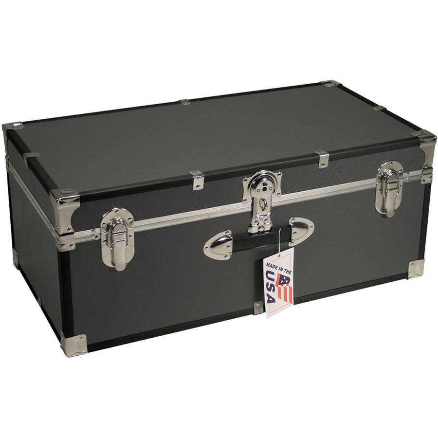 Seward Trunk Stackable Footlocker Trunk 25 Gal. Wood Storage Box with Handle, Gray