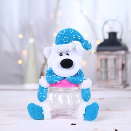 Christmas Candy Jar Santa Claus Elk Snowman Transparent Jar Table Decoration