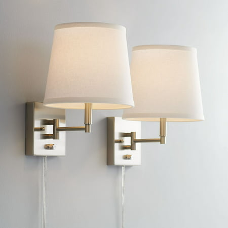 360 Lighting Lanett Brushed Nickel Swing Arm Plug-In Wall Lamp Set of (Magma Nickel Two Light)