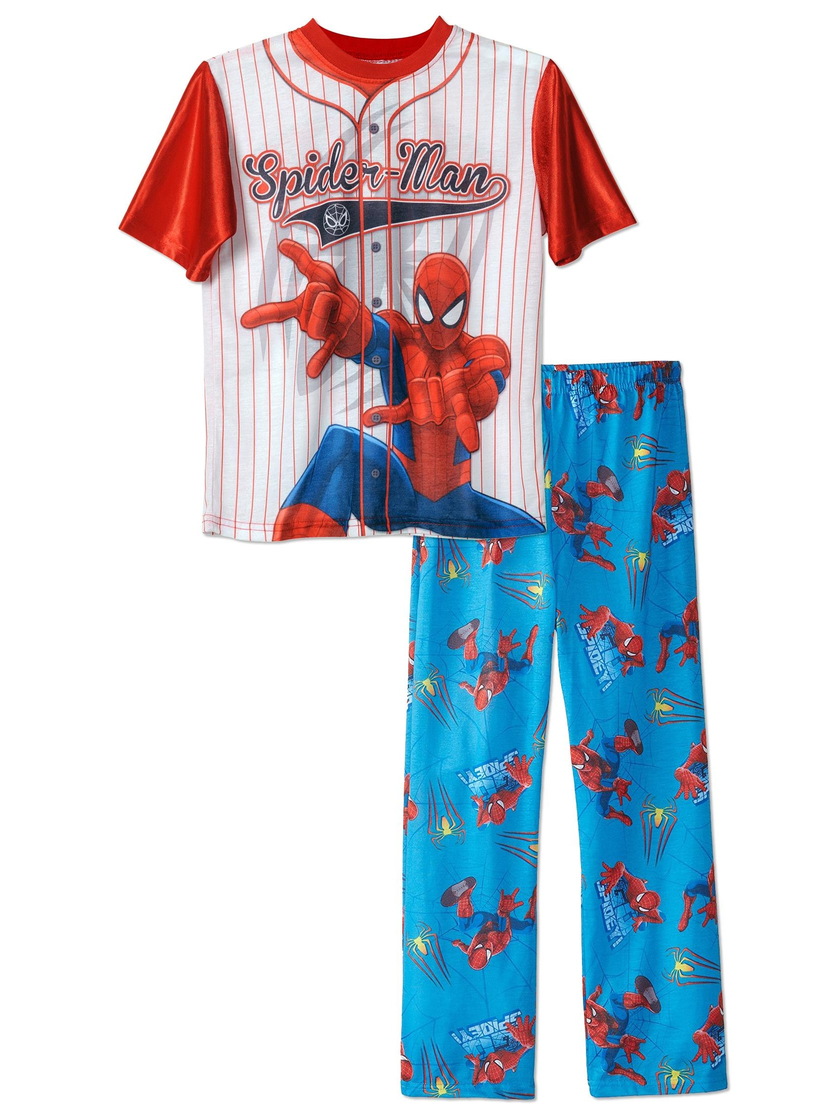 Boys Spiderman Baseball Jersey 2-piece Pajama Sleepwear Set , Kids Sizes 4-12, White, Size: 4-5