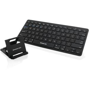IOGEAR Slim Multi-Link Bluetooth Keyboard with Stand - Wireless Connectivity - Bluetooth - 78 Key - English (US) - Compatible with Computer, Tablet, Smartphone, Gaming Console - QWERTY Keys Layou