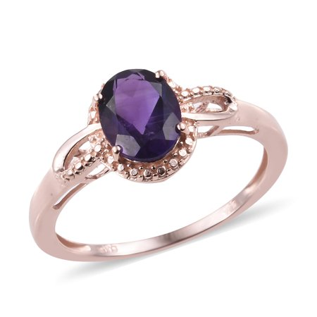 925 Sterling Silver 14K Rose Gold Plated Oval Amethyst Solitaire Ring for Women Jewelry Size 8 Cttw 1.4