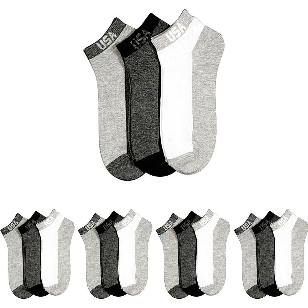 12 Pair Mens Ankle Low Cut Crew Socks Size 10-13 Quarter Sport Dozen Black New