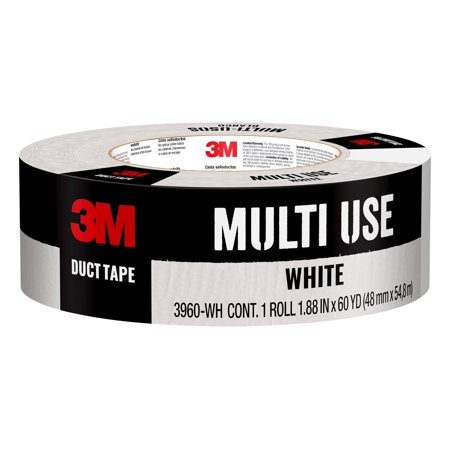 3M Scotch White Duct Tape, 1.88 Inches x 60 Yards, 3960-WH, 1 Roll Multi Pleat Tape