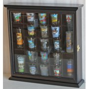 Shot Glass Display Case Wall Cabinet with Glass Door, Solid Wood, Black SC01-BLA