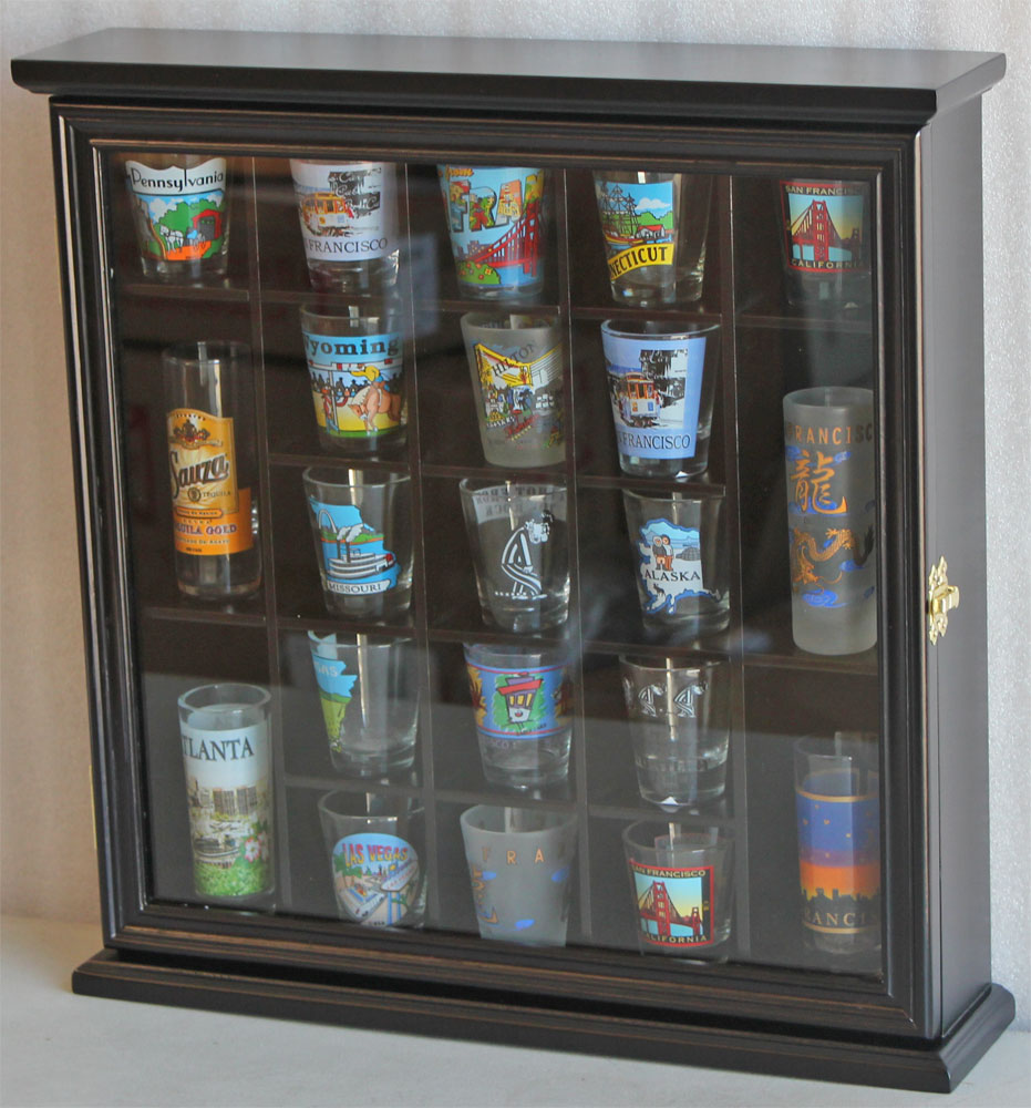 Shot Glass Display Case Wall Cabinet With Glass Door, Solid Wood, Black  SC01