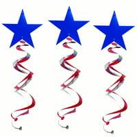"26"" Double Hanging Swirl Patriotic Star Decorations, 3ct"