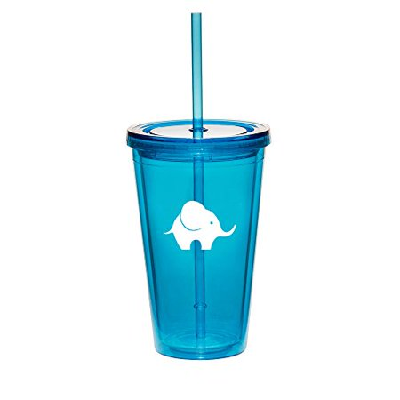 16oz Double Wall Acrylic Tumbler Cup With Straw Baby Elephant (Light-Blue) - Photo Acrylic Tumbler With Straw