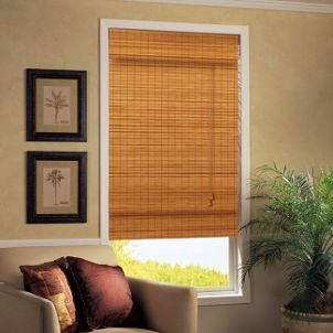 Caramel Simple Weave Flatstick Fruitwood Bamboo Roman Shade 66 in. W x 72 in. L