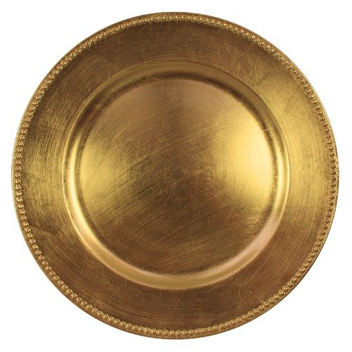 "SET OF 8 BEADED GOLD 13"" ROUND MELAMINE CHARGERS"
