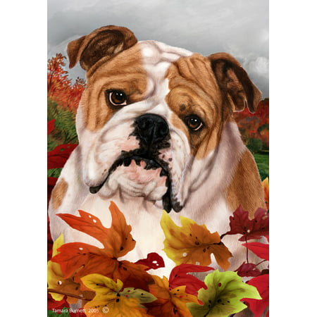 Bulldog - Best of Breed Fall Leaves Large Flags..