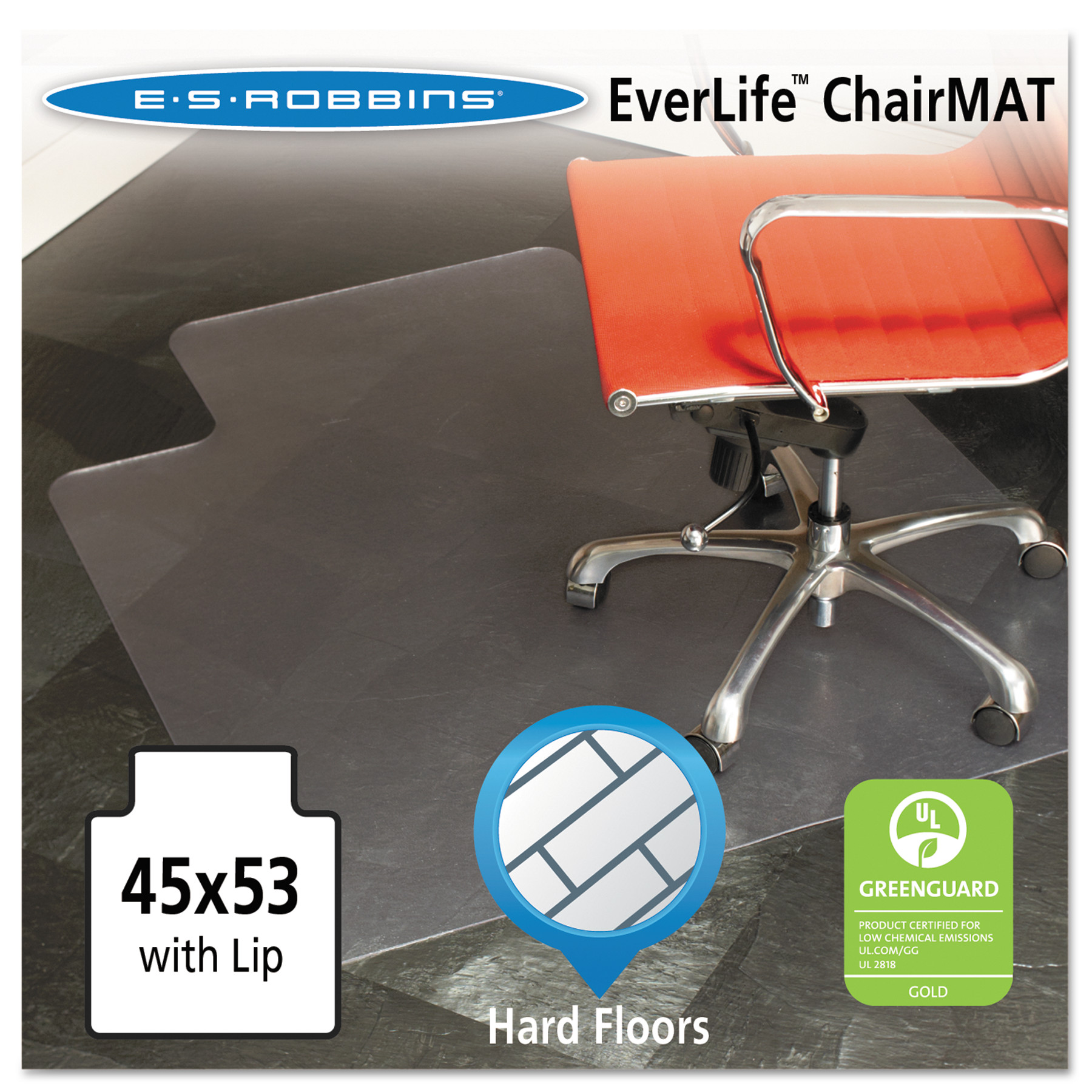es robbins 45x53 lip chair mat multitask series for hard floors heavier - Chair Mat