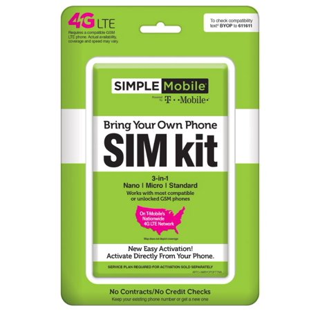 Simple Mobile Bring Your Own Phone SIM Kit - T-Mobile GSM Compatible