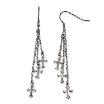 Lex & Lu Chisel Stainless Steel Multi Strand Cross Dangle Hook Earrings Multi Cross Dangle