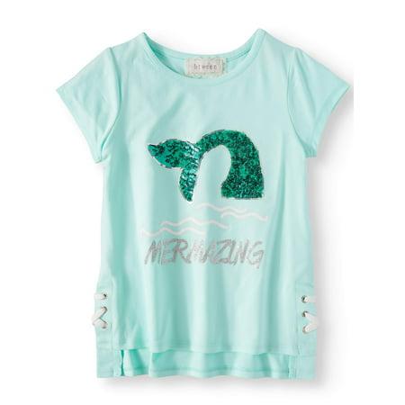 Sequin Mermaid Lace Up Hi-Lo Top (Big Girls)](Auburn Mermaids)