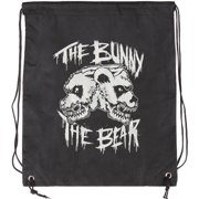 Bunny The Bear Skull Logo Drawstring Backpack Black