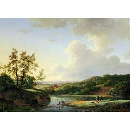 An Extensive Landscape Rolled Canvas Art   Marinus Adrainus Koekkoek  10 X 14