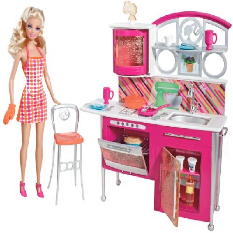 Barbie Stovetop To Tabletop Kitchen Furniture And Doll Play Set