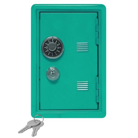 Kids Coin Bank Locker Safe With Combination Lock And Key   7  High Teal