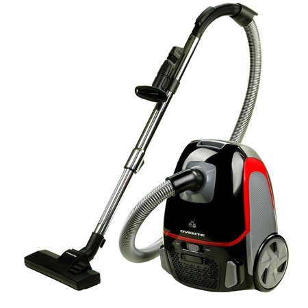 Ovente Canister Vacuum with Tri-Level Filtration: Dust Bag, Outlet HEPA Filter, and Inlet Filter, 1400W, Energy-Saving Variable Suction, 1.5M Crush-Proof Hose, Automatic Cable Rewind, Black (ST1600B)