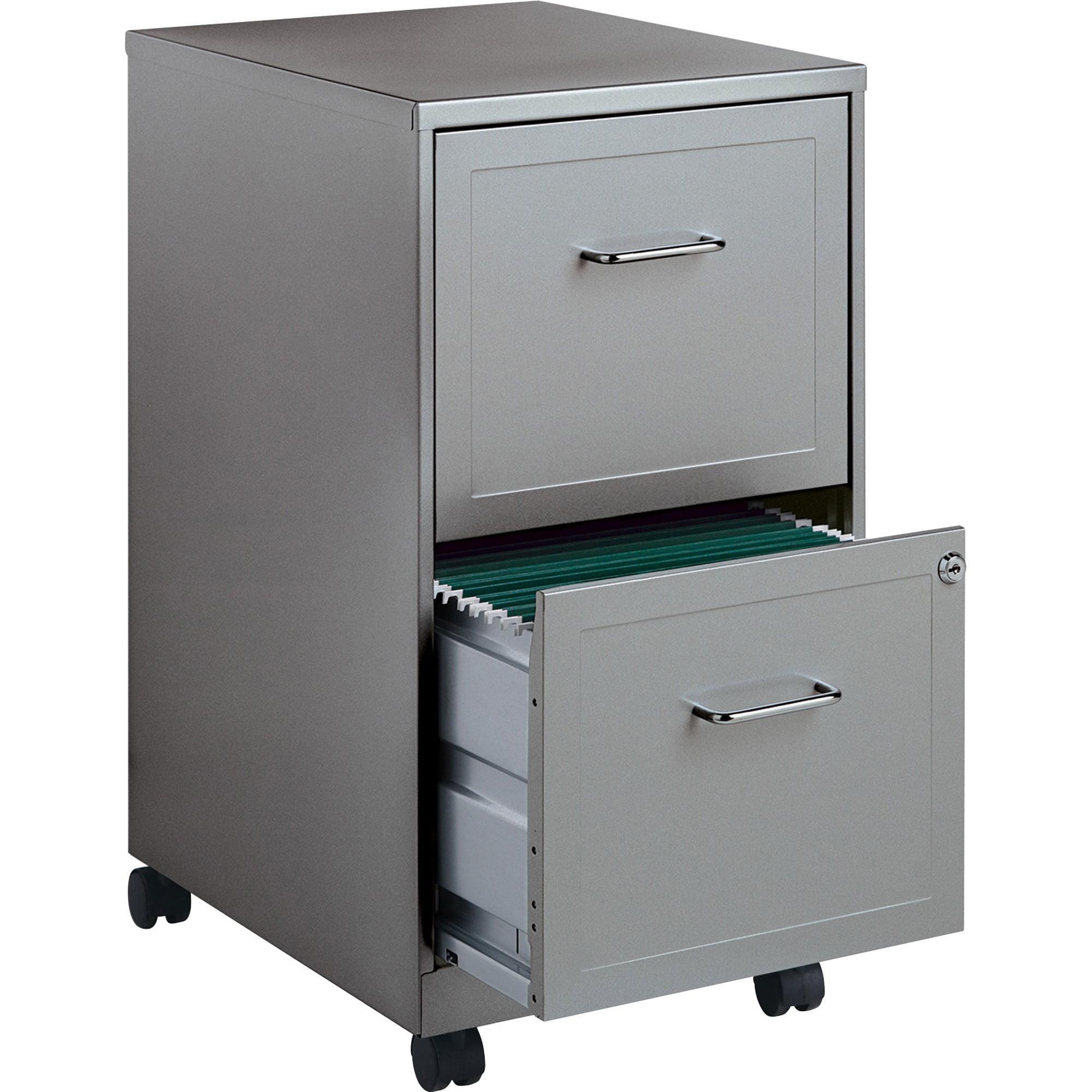 Lorell 2 Drawers Steel Vertical Lockable Filing Cabinet, Black