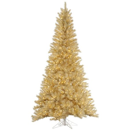 Vickerman Pre Lit 7 5' White Gold Tinsel Artificial Christmas Tree  - Vickerman Pre Lit Christmas Trees
