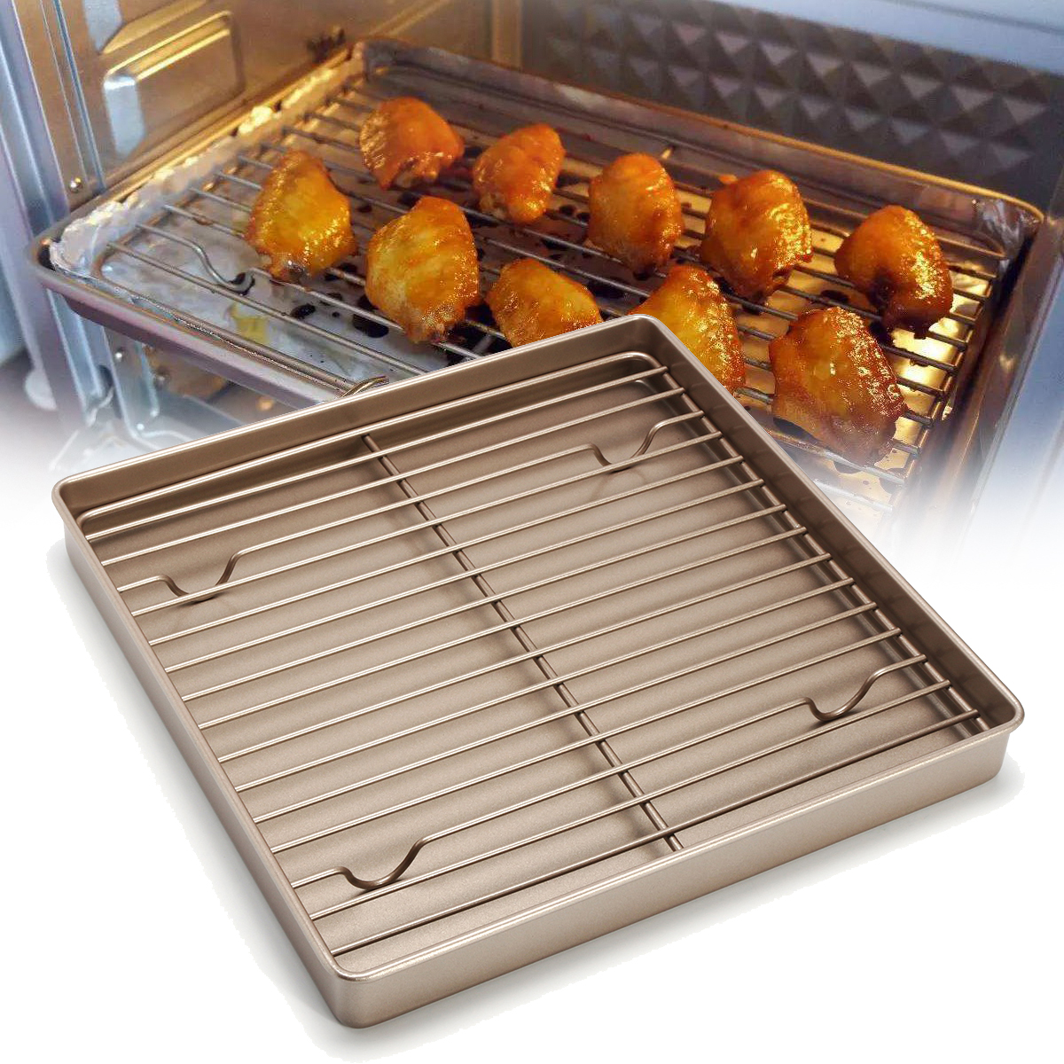 Stainless Steel Wire Cooling Rack & Nonstick Baking Cake Pan for Baking Cooling Cookies, Cakes, Breads - Oven Safe for Cooking, Roasting, Grilling