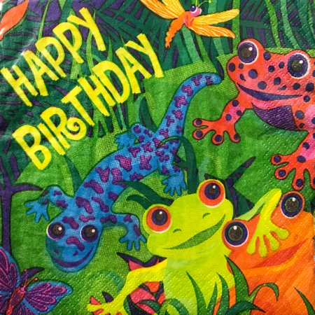 Frogs and Friends Happy Birthday Lunch Napkins - Frog Birthday