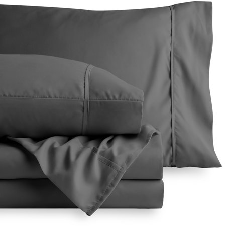 Bare Home Premium 1800 Ultra-Soft Microfiber Collection Sheet Set - Double Brushed - Hypoallergenic - Wrinkle Resistant - Deep Pocket (Queen, Gray)