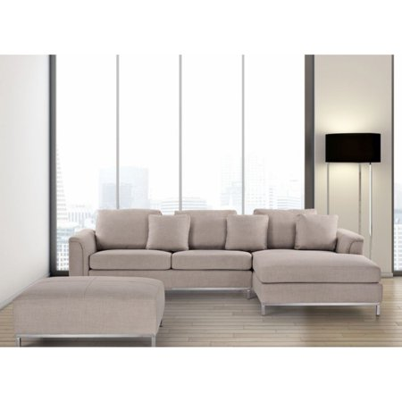 - Velago Oslo Modern Fabric Sectional Sofa with Ottoman