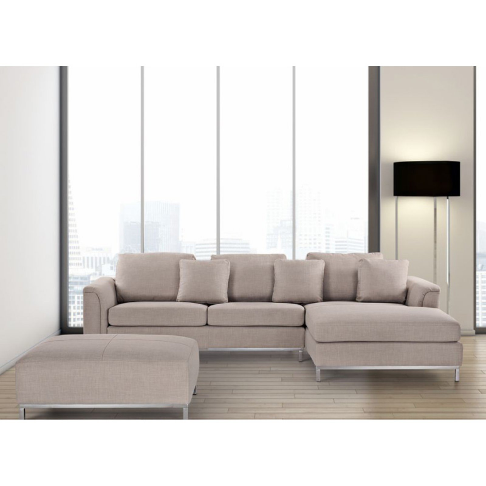 Velago Oslo Modern Fabric Sectional Sofa with Ottoman