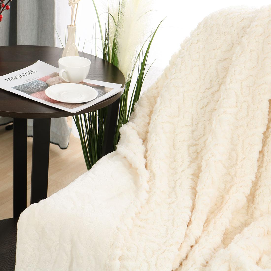 "Plush Reversible Fleece Lightweight Warm Blankets Pink Throw 51"" x 68"""
