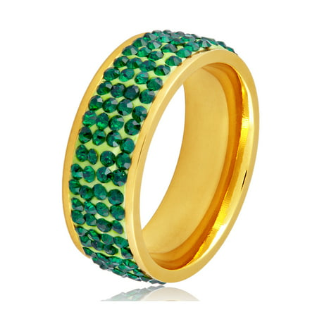 Coastal Jewelry Green Crystal Stones Gold Plated Stainless Steel Ring