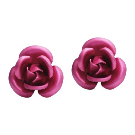 Blooming Pink Resin Rose .925 Sterling Silver Stud